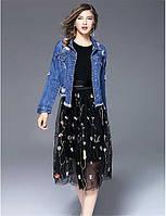 Для женщин На выход На каждый день Весна Осень Джинсовая куртка Рубашечный воротник,Простой Уличный стиль С принтом Короткая Длинный рукав 06212251