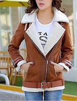 Для женщин На каждый день Зима Осень Кожаные куртки Рубашечный воротник,Новое поступление Однотонный Обычная Длинный рукав,Полиэстер 05988155