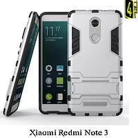 Чехол для Xiaomi Redmi Note 3, бампер с подставкой, Hybrid Armor, серебро.