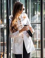Женский Однотонный Пальто Зима Красный / Белый / Зеленый / Оранжевый Длинный рукав,Шерсть / Полиэстер 00747364