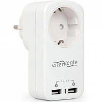 Зарядное устройство EnerGenie 2 USB по 2.1A со сквозной розеткой (EG-ACU2-01-W)