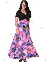SWEET кривой женщин пляж плюс размер одежды, печать / лоскутное v шеи миди короткий рукав розовый спандекс / другие летом 04745381