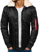 Мужская зимняя куртка пилот черная до -10