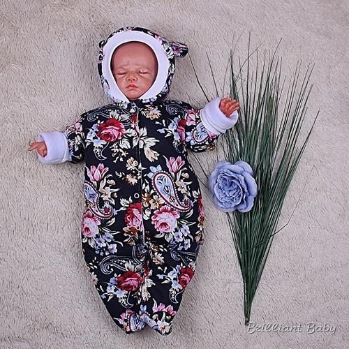 """Зимний комбинезон для новорожденных """"Lovely"""", цветочный принт"""
