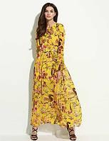 Для женщин На каждый день Богемный С летящей юбкой Платье Цветочный принт,Вырез под горло Макси Длинный рукав Полиэстер ВеснаС высокой 02257849