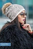 Женская шапка с натуральным помпоном