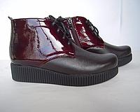 Женские ботинки из натуральной кожи коричневого цвета