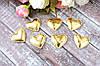 """Апликация """"Сердечко экокожа"""", 3 х 3 см, 25 шт/уп, золото"""