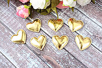 "Апликация ""Сердечко экокожа"", 3 х 3 см, 25 шт/уп, золото, фото 1"