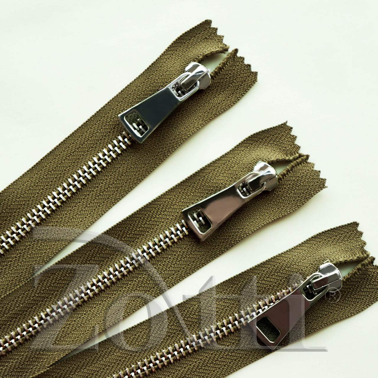 Молния (змейка,застежка) металлическая №5, размерная, обувная, хаки, с серебряным бегунком № 115 - 14 см