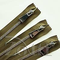 Молния (змейка,застежка) металлическая №5, размерная, обувная, хаки, с серебряным бегунком № 115 - 14 см, фото 1