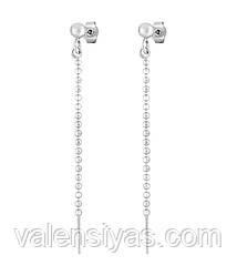 Серебряные серьги-гвоздики с подвесками 8814Р