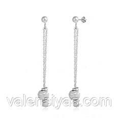Пуссеты серебряные с длинными подвесками 8826Р