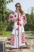 Модное платье вышитое лён
