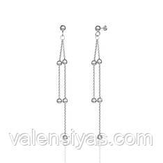 Серебряные пуссеты с длинными подвесами 8830Р