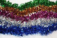 "Мишура оптом дождик ""Квадратики"", цвет: ассорти, диаметр: 7 см, длина: 1,7 метра,  проволочная основа, произво"