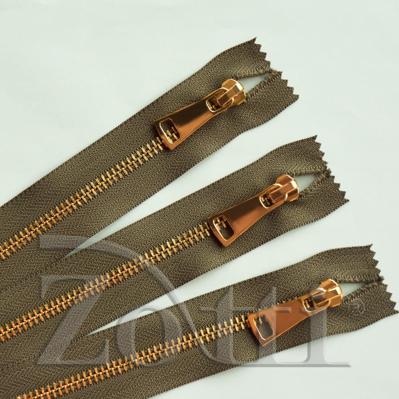 Молния (змейка,застежка) металлическая №5, размерная, обувная, хаки, с золотым бегунком № 115 - 11 см