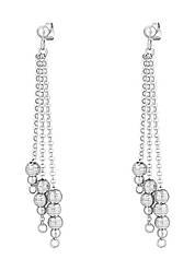 Серебряные серьги-гвоздики с длинными подвесками 8841Р