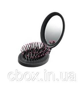 Складная щетка для волос с зеркалом черная, Avon, 86719