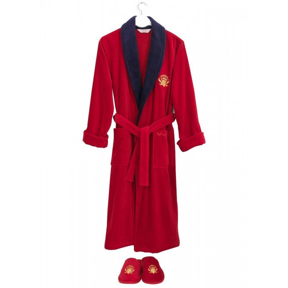 Soft cotton халат SNOB 2 Li M kirimisi/lacivert красный