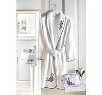 Soft cotton халат BLOSSOM M белый/лиловый