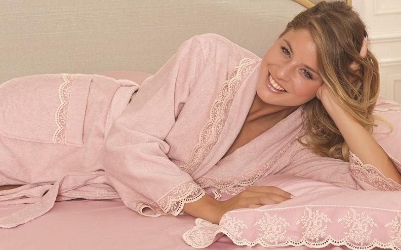Soft cotton халат BUKET L 3 пр   кремовый