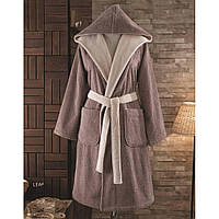 Soft cotton халат LEAF S темно-коричневый