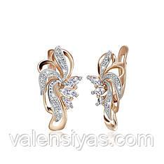 Серебряные серьги с позолотой и камнями СК3Ф/006