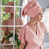 Tivolyo Home халат SAN TROPEZ   + полотенце  50X100  розовый