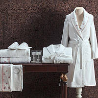 Tivolyo Home женский халат PICCOLO  комлект (халат+2 полотенца +тапочки)  розовый