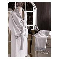 Tivolyo Home женский  халат FORZA ( халат+2полотенца+тапочки)  белый