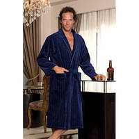 Soft cotton халат SHARP M  тёмно-синий