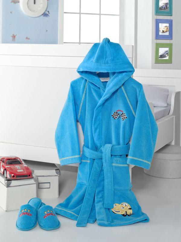 Soft cotton детский халат PILOT 4 года  голубой