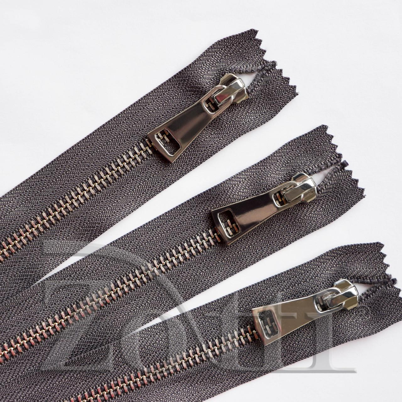 Молния (змейка,застежка) металлическая №5, размерная, обувная, серая, с серебряным бегунком № 115 - 16 см