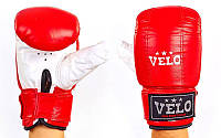 Снарядні рукавички з манжетом на липучці Шкіра VELO (р-р S-XL, червоний-білий), фото 1