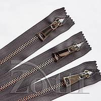Молния (змейка,застежка) металлическая №5, размерная, обувная, серая, с серебряным бегунком № 115 - 30 см, фото 1
