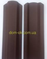 Штакет металлический полукруглый и трапецевидный RAL 8017 матовый двухсторонний Корея 0,45 мм