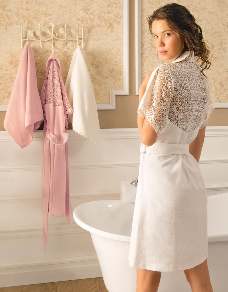 Tivolyo Home халат LINDA K.beyaz + 50X100  полотенцe