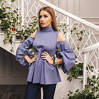 Шикарная блуза с открытыми плечиками и рукавом-фонариком 3 цвета