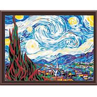 "MS 233  ""Звездная ночь"" Ван Гог Роспись по номерам на холсте 40х50см"