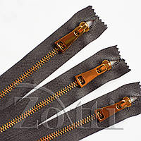 Молния (змейка,застежка) металлическая №5, размерная, обувная, серая, с золотым бегунком № 115 - 18 см, фото 1