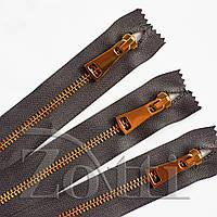 Молния (змейка,застежка) металлическая №5, размерная, обувная, серая, с золотым бегунком № 115 - 20 см, фото 1