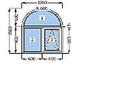 Окно Арочное Двух створчатое одно камерный стекло пакет профиль Rehau 70