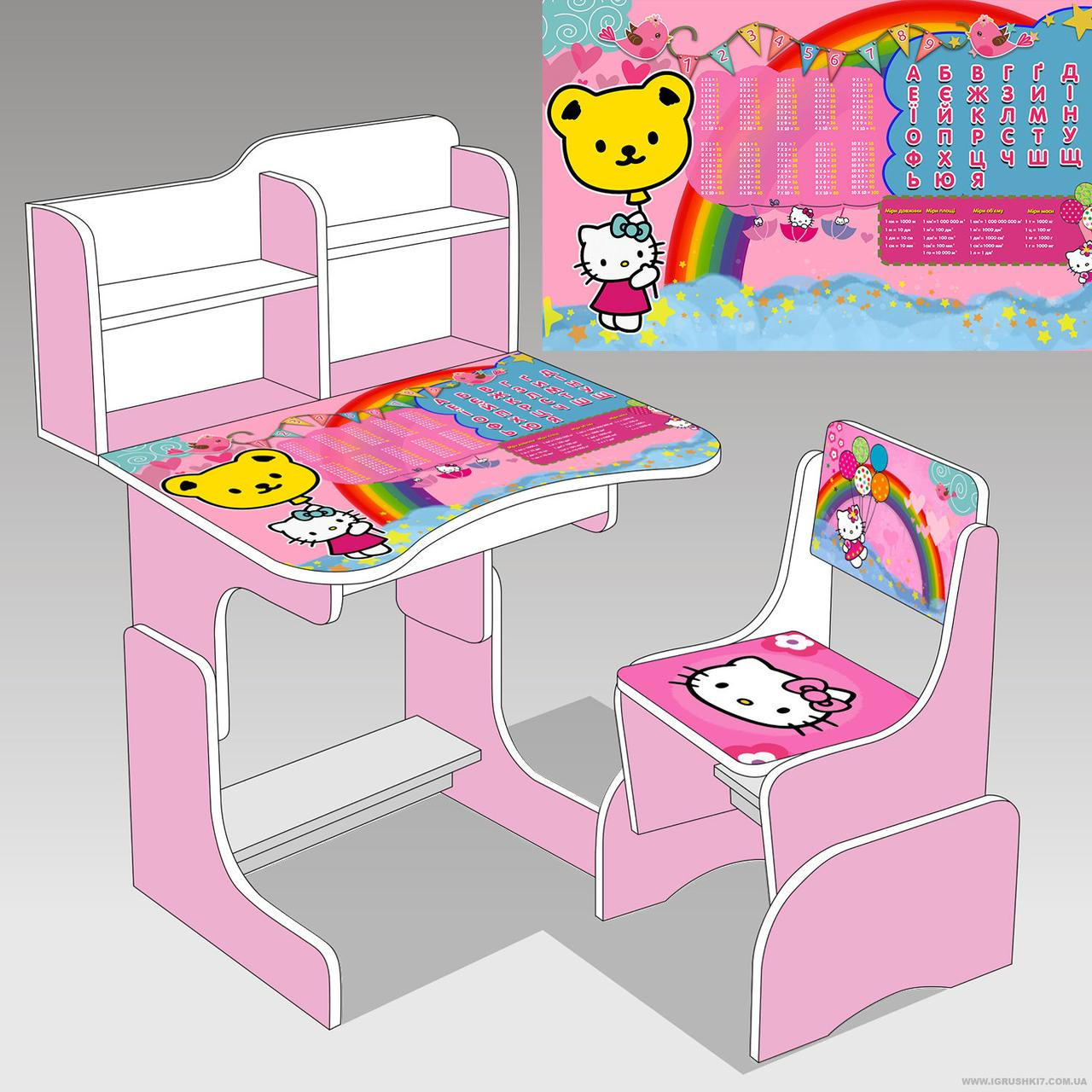 Парта школьная растишка KITTY (Китти) 014, розовая