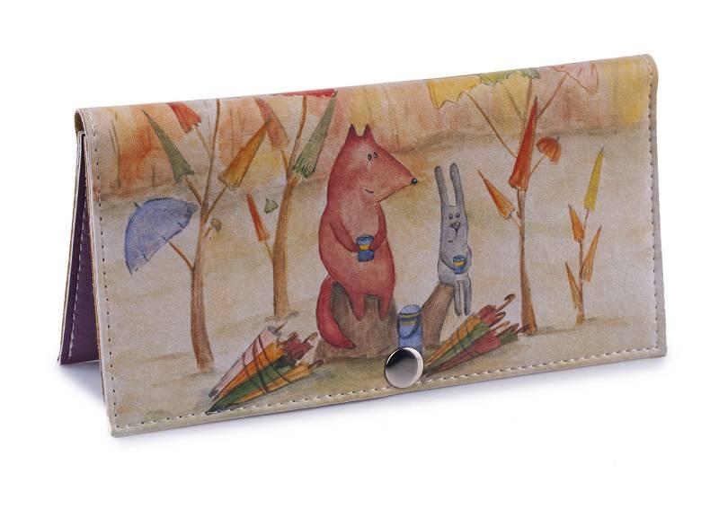 Женский кошелек -Собиратели зонтиков-. Ручная работа