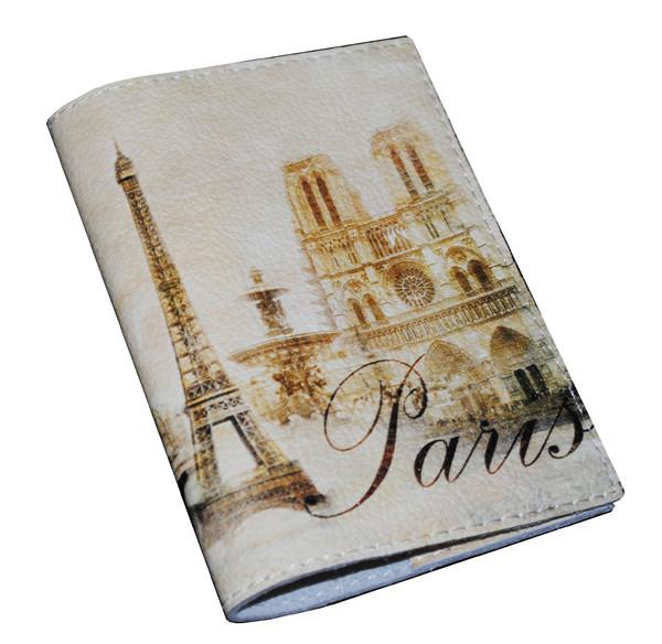 Кожаная обложка на паспорт -Винтажныи Париж-