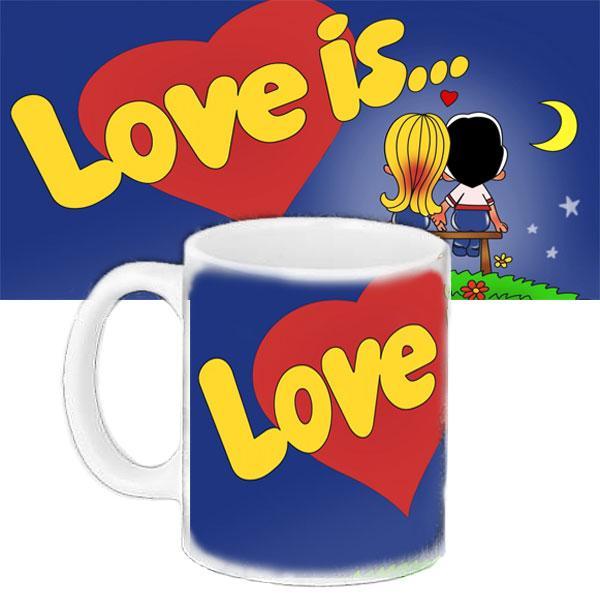Кружка подарунок з принтом LOVE IS Любов це