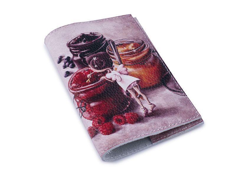 Кожаная женская обложка для паспорта -Сладкоежка-
