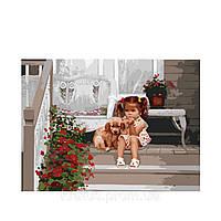 "KHO 1024 ""Девочка с собакой"" Роспись по номерам на холсте (без коробки) 40х50см"