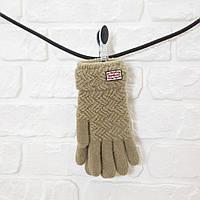 Перчатки из шерсти бежевый